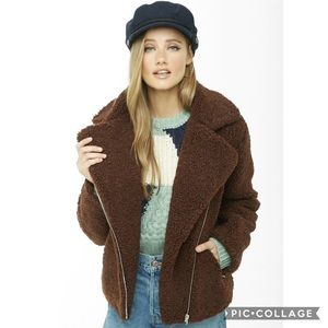 Forever 21 Brown Faux Shearling Teddy Moto Jacket